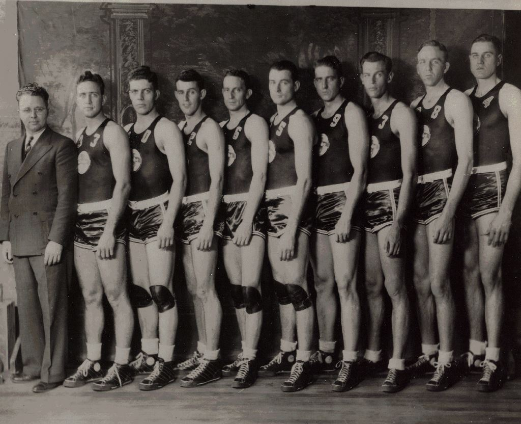 Historic photo of a basketball team.