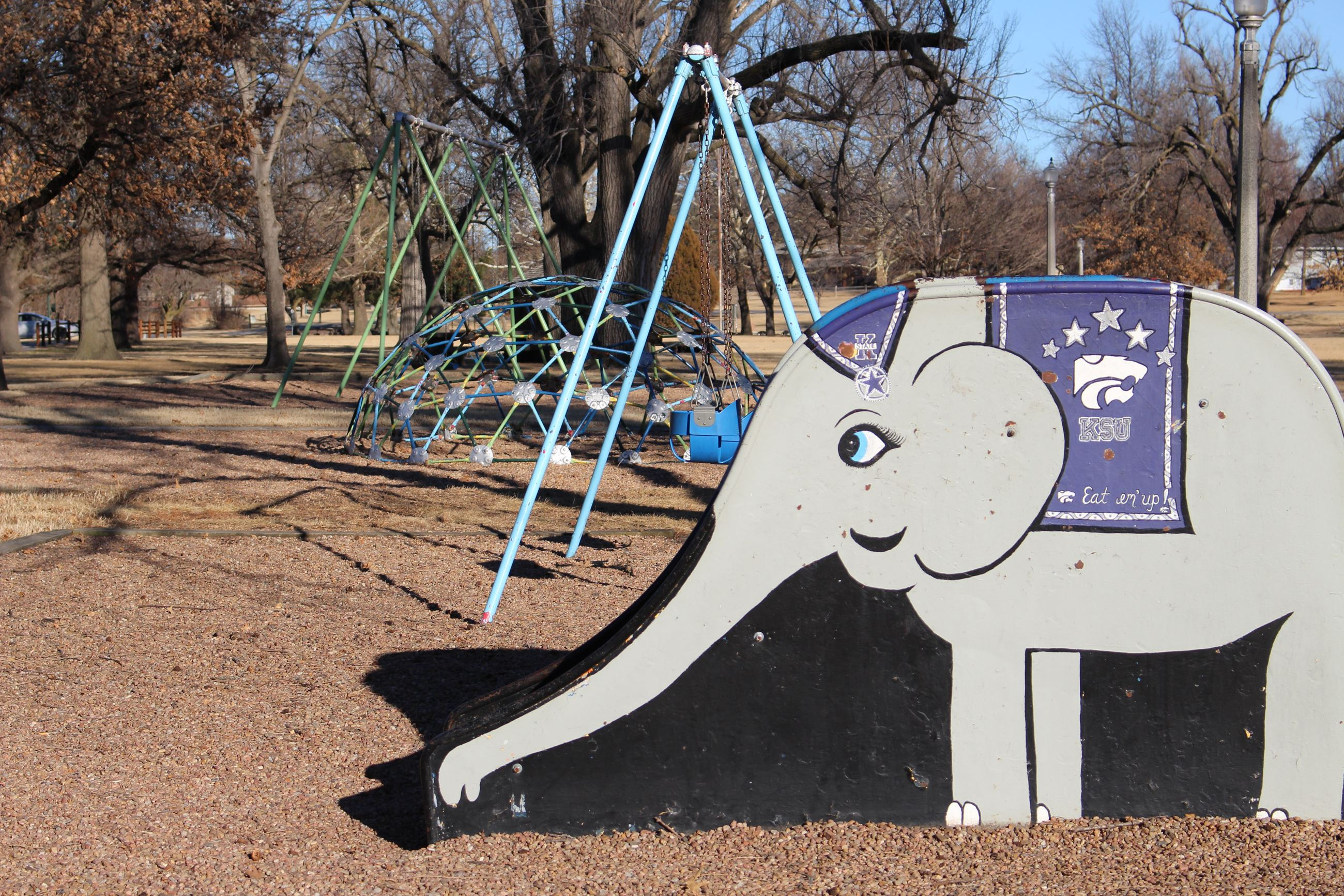 Lakeside Park has a playground featuring a slide that looks like an elephant.