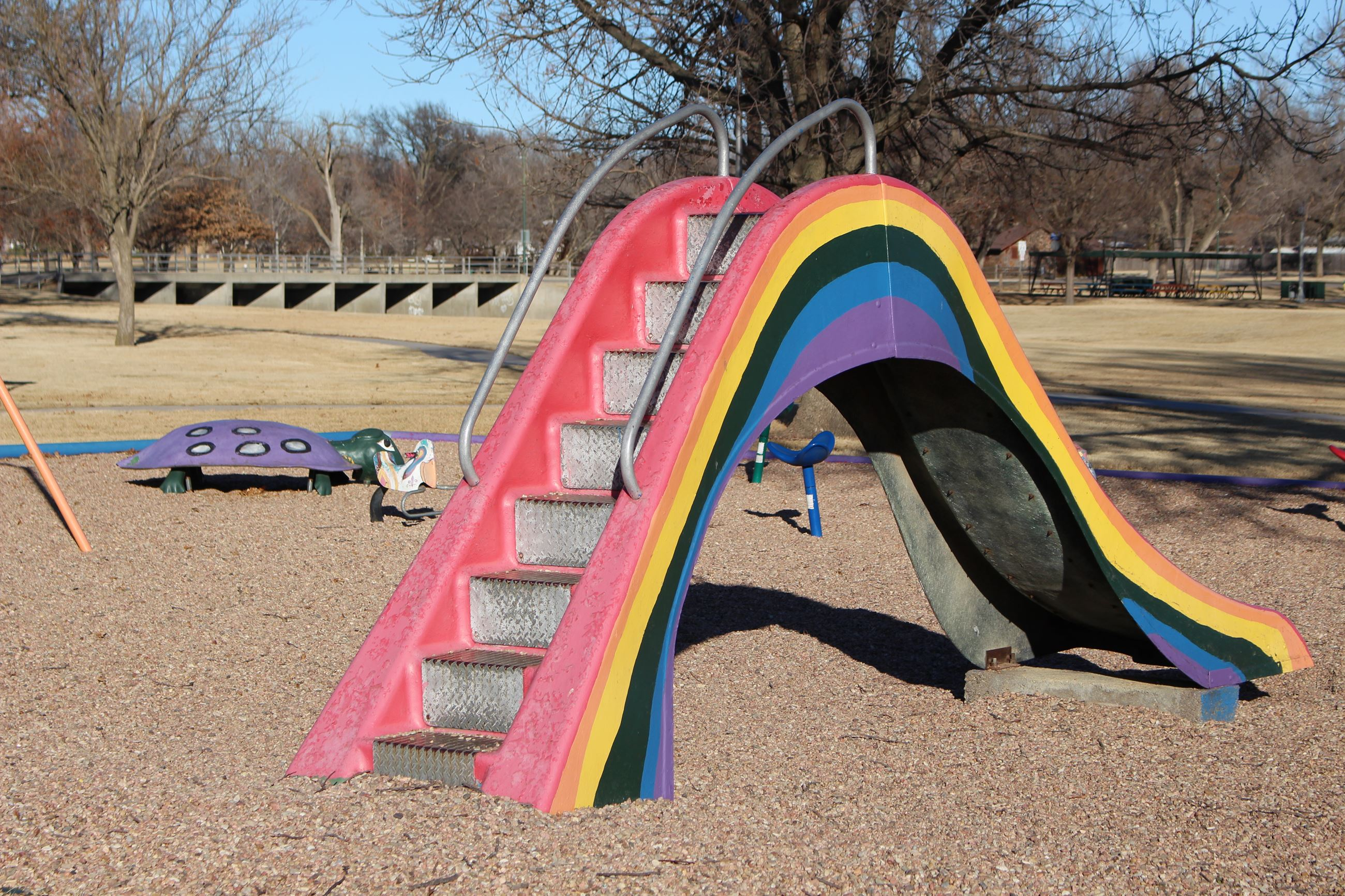 One of the slides at Lakeside park has a slide painted in the colors of a rainbow.