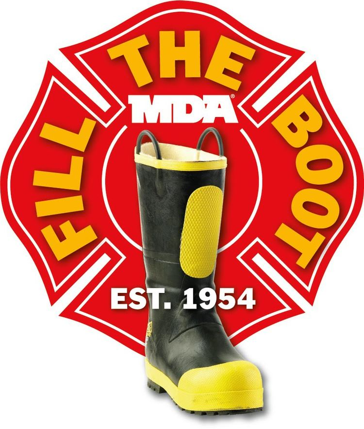 A firefighters boot is in the foreground with a red seal in the background and the words FILL THE BO
