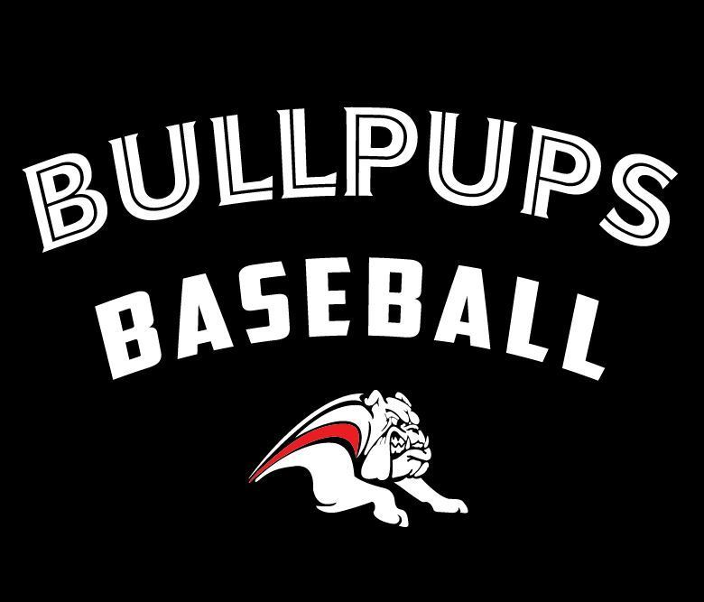 The words BULLPUPS BASEBALL with a white pup mascot with a streak of red down its back