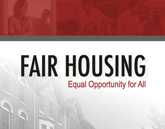 A row of houses sit in the background with the words FAIR HOUSING EQUAL OPPORTUNITY FOR ALL