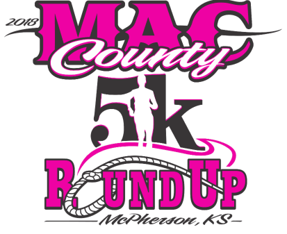 Pink and black logo with the words MAC COUNTY 5K ROUND UP