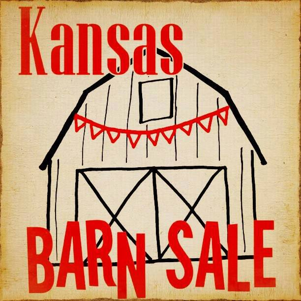 Rustic image of a barn and the words KANSAS BARN SALE