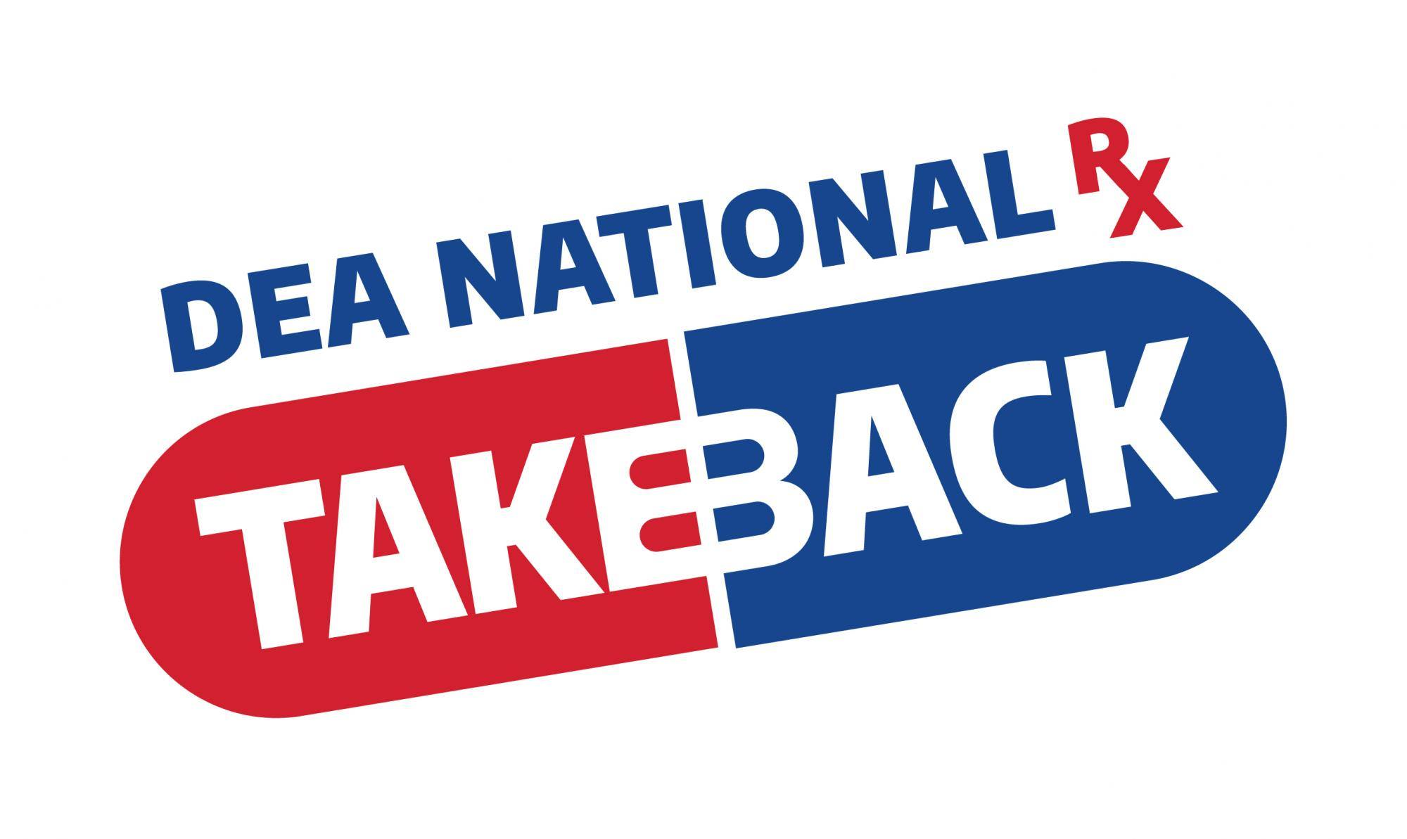 Red and blue graphic promoting National Drug Take Back Day