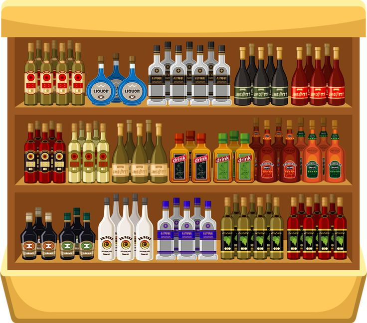 Graphic drawing of mixed alcohol bottles on a shelf