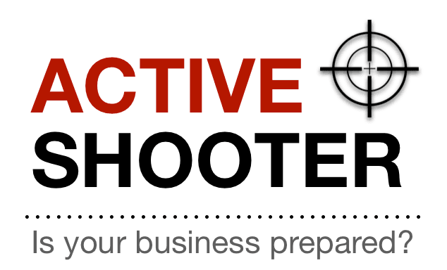 Red and black seminar logo with the words ACTIVE SHOOTER: IS YOUR BUSINESS PREPARED