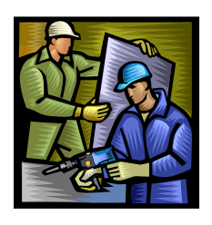 Graphic drawing of two construction workers holding a drill and drywall