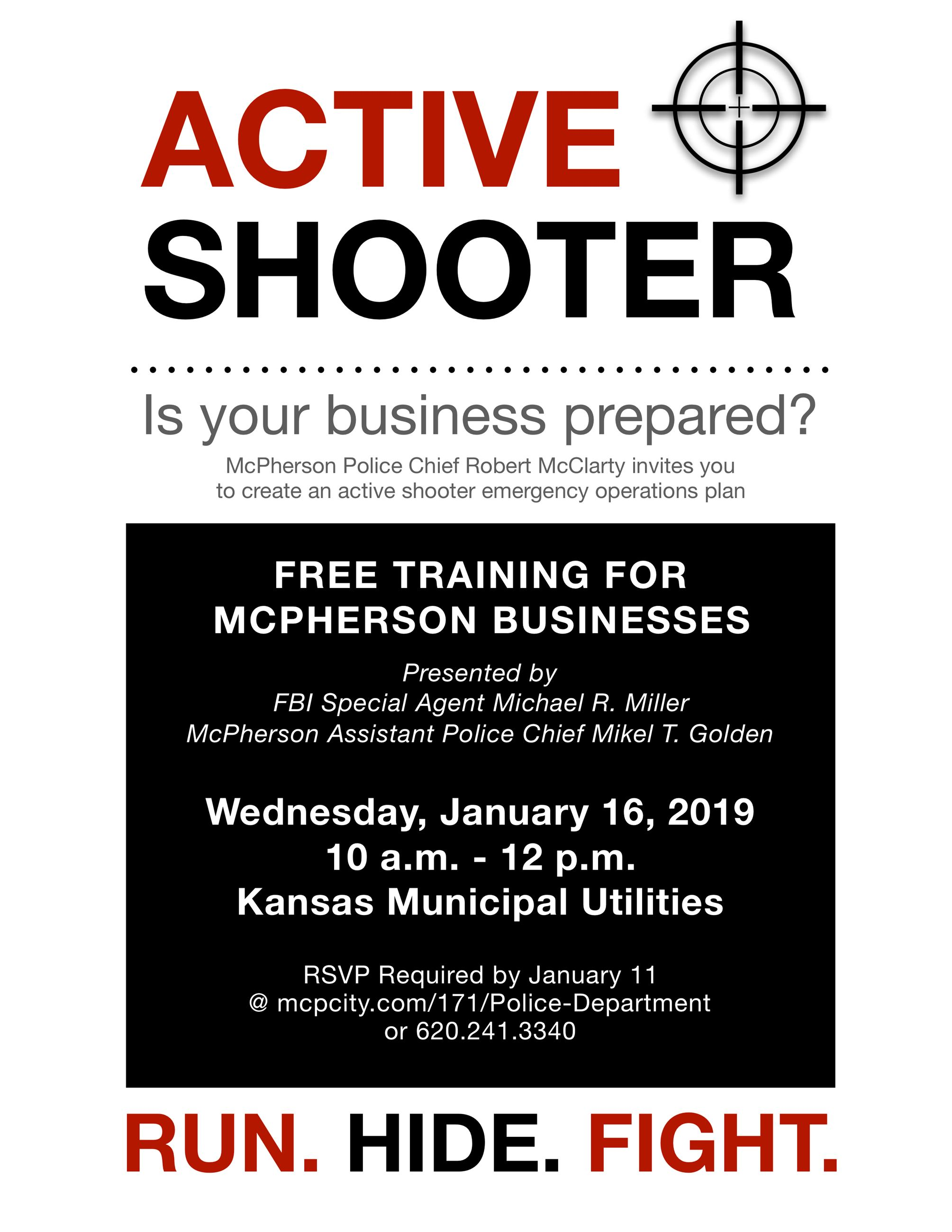 Poster with the words ACTIVE SHOOTER promoting an active shooter response training for businesses