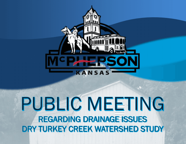 Words announcing a public meeting regarding drainage issues along with the City of McPherson logo