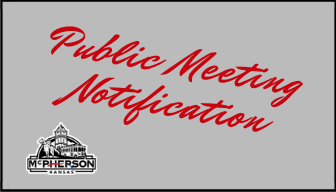 Gray background with the words PUBLIC MEETING NOTIFICATION in red letters