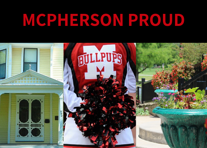 Three photos showing a yellow home, the back of a cheerleader with the words BULLPUPS on her shirt a