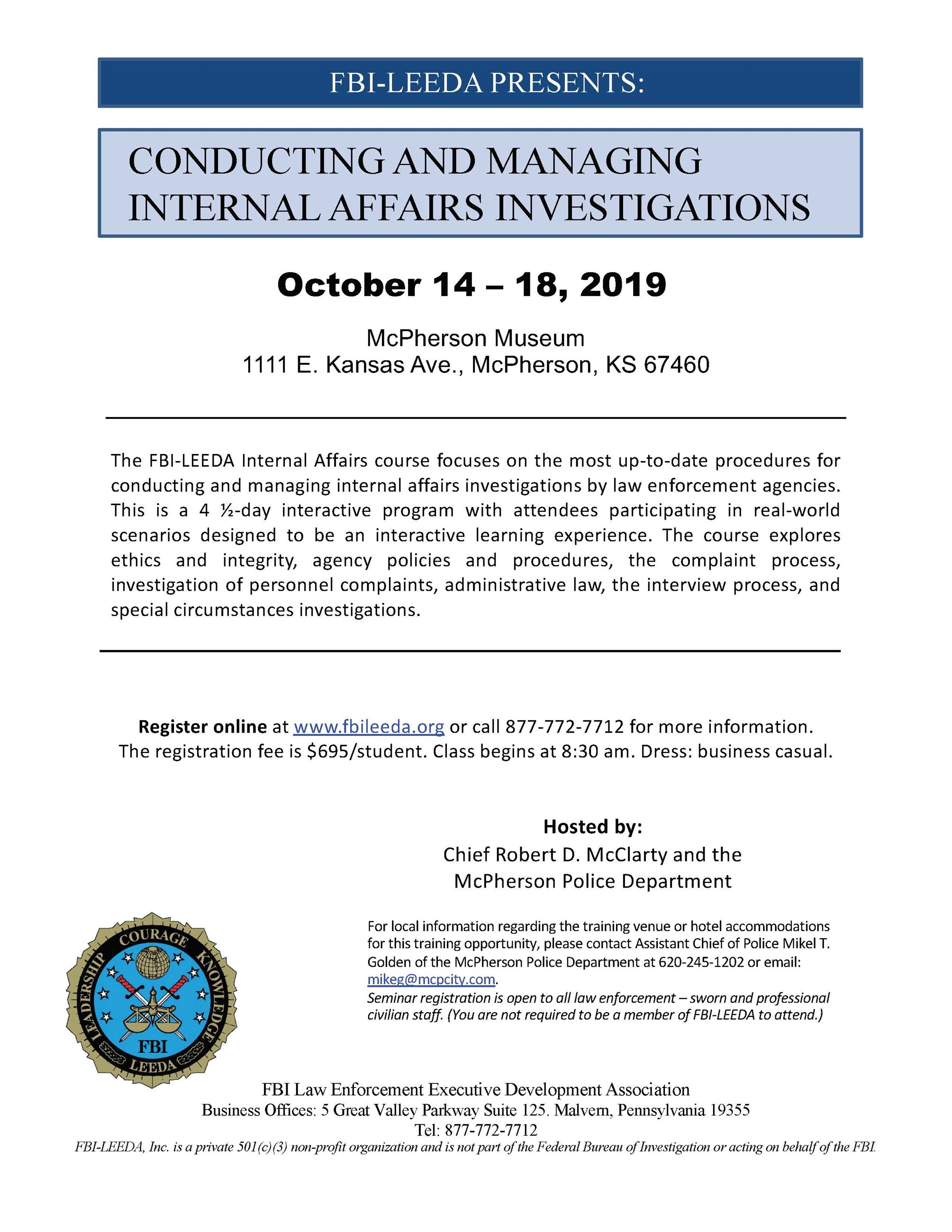 Flyer information promoting police training provided by the FBI