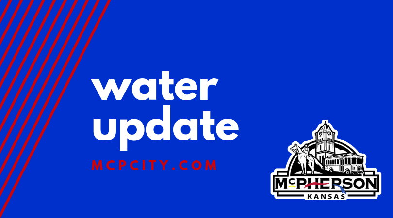 Blue background with white words WATER UPDATE and the City of McPherson logo