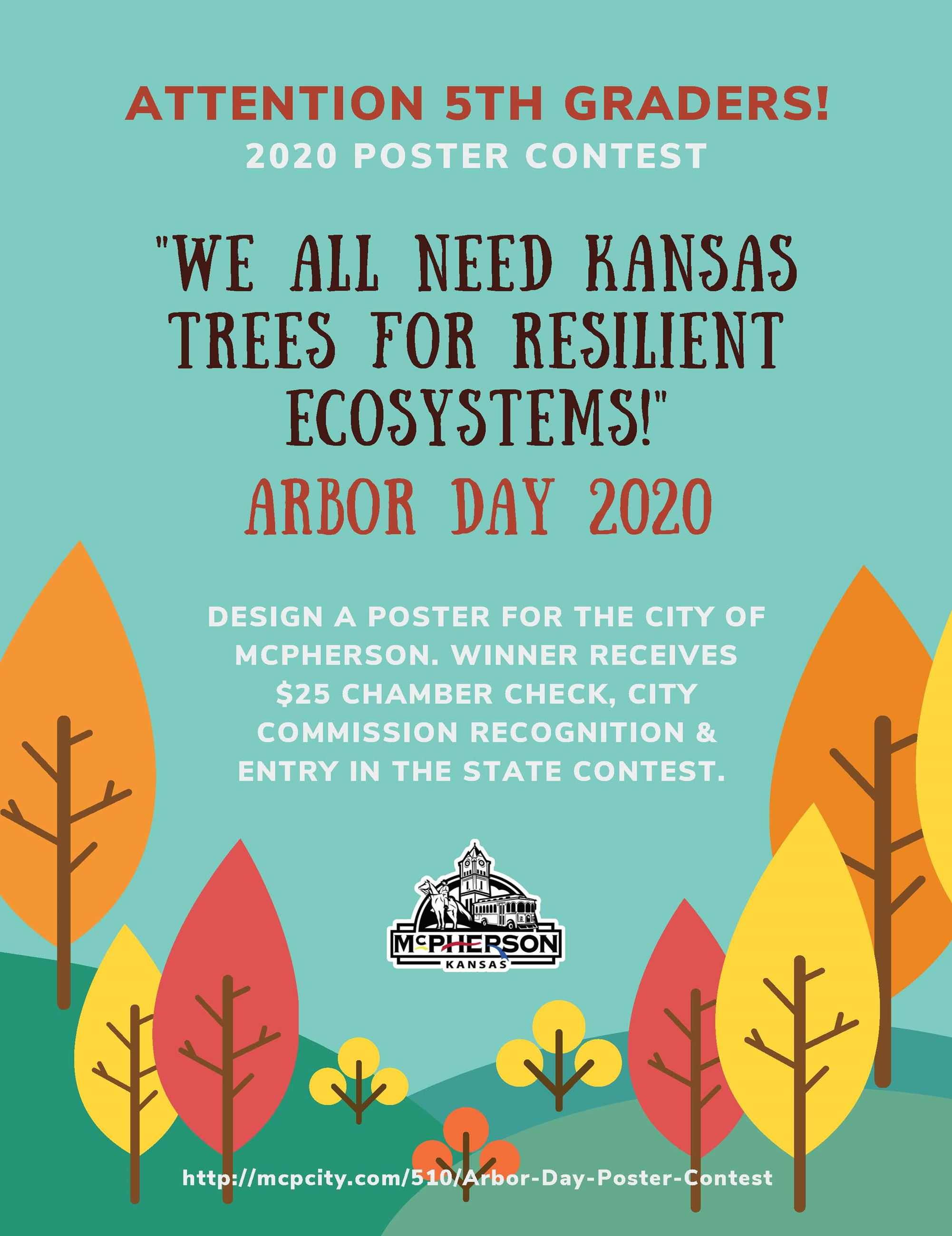 Poster with trees promoting the annual Arbor Day Poster Contest sponsored by the City of McPherson
