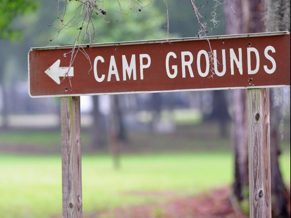 Camp Ground Sign with Arrow